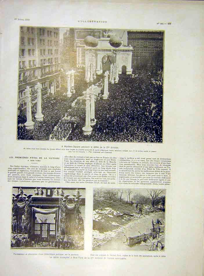 Print Madison Square America New-York Army 1919 33Lil0 Old Original