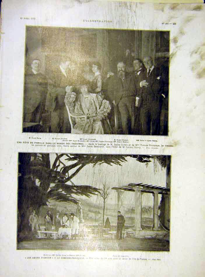 Print Theatre Guitry Emps French Comedy Bernhardt 1919 35Lil0 Old Original