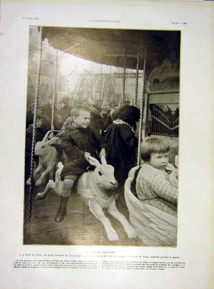 Print Fair Trone French Children War Pains France 1919 59Lil0 Old Original