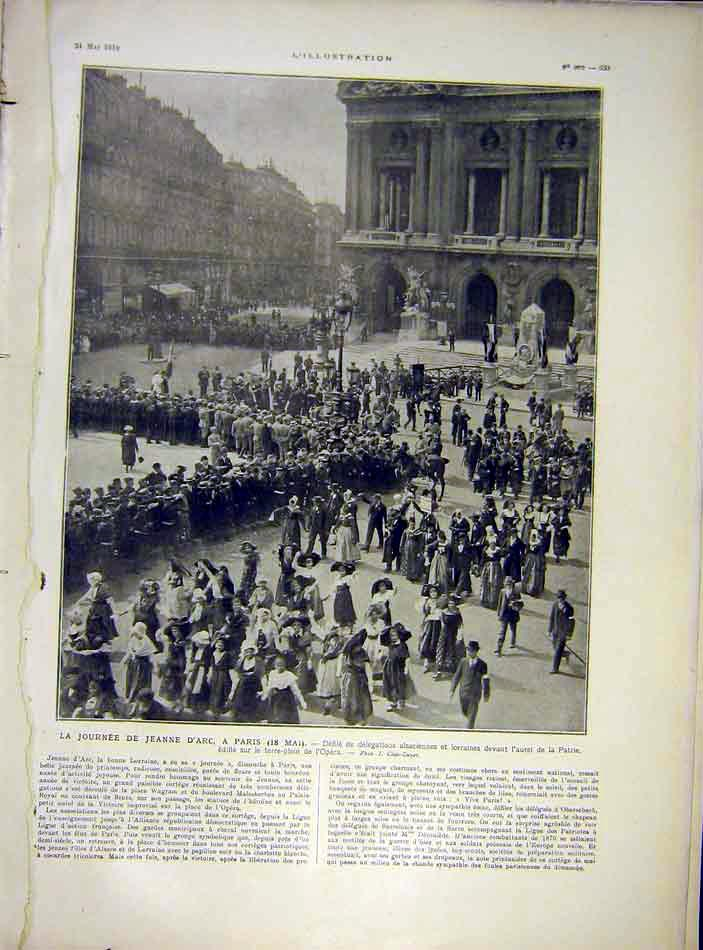 Print Joan Arc Paris Procession France French 1919 33Lil0 Old Original