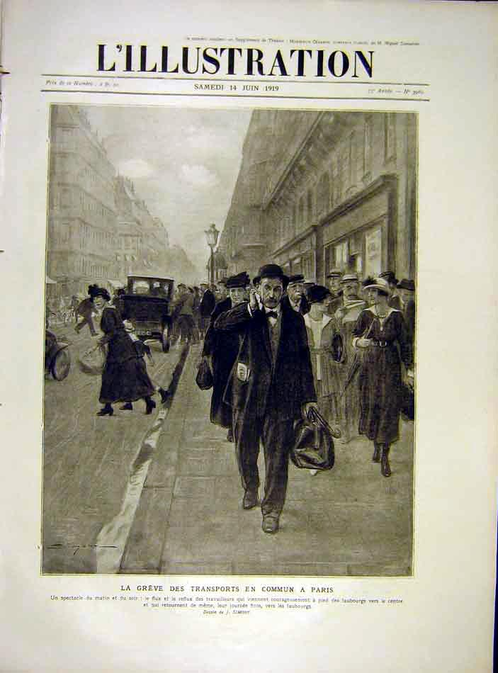 Print Paris Transport Foot-Travellers French 1919 00Lil0 Old Original