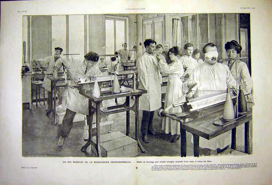 Print Amputees Ww1 Re-Education School Soldiers 1919 25Tlil0 Old Original