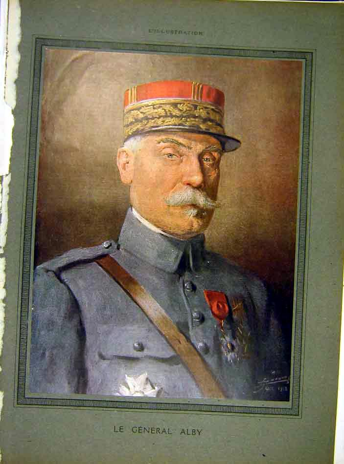 Print Portrit Alby General Military French 1919 10Lil0 Old Original