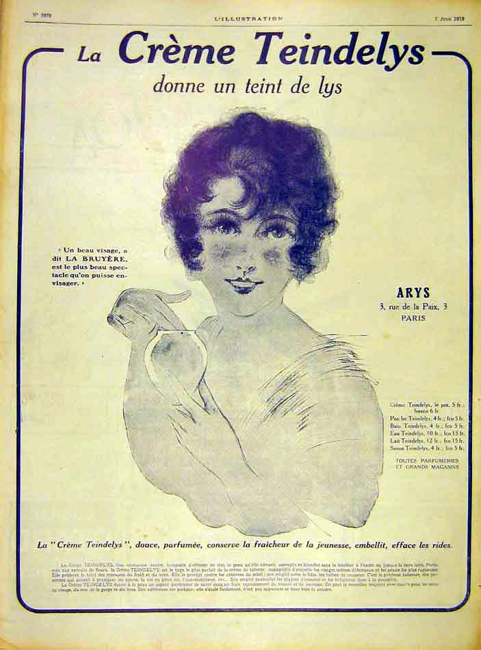 Print Advert Teindelys Lys Cream Lady Beauty 1919 21Lil0 Old Original