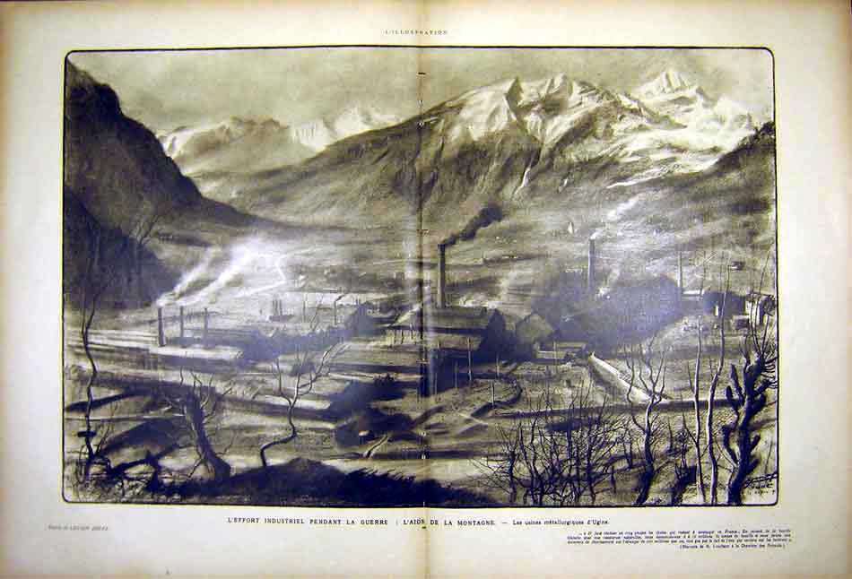 Print Industry War Montain Ugine Metallurgist 1919 Ww1 82Tlil0 Old Original