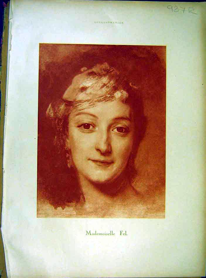Print Portrait Mademoiselle Fel Young Girl Lady 1919 87Rlil0 Old Original