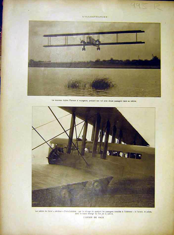 Print Bi-Plane Farman Peace Aeroplane Chirurgie Carrel 1919 95Rlil0 Old Original