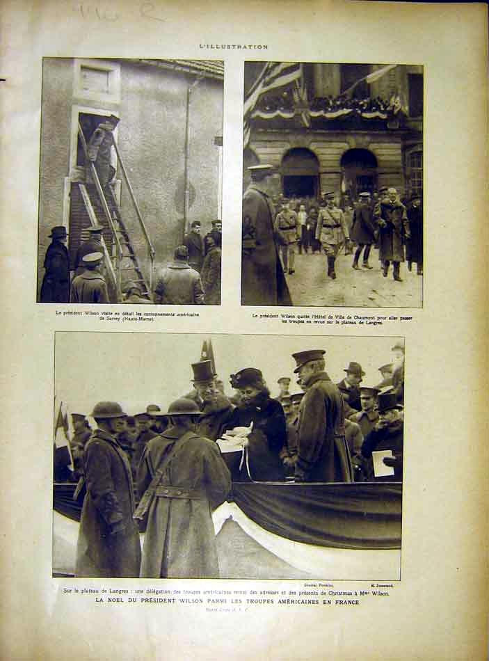 Print Wilson American Troops France Schlestadt Castle 1919 96Rlil0 Old Original