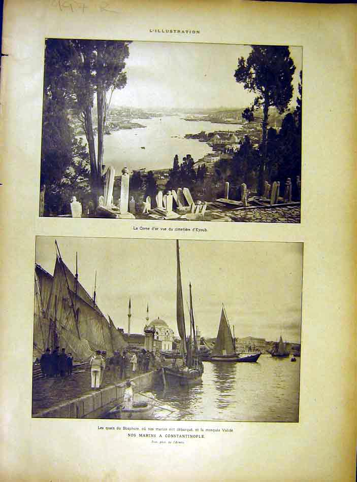 Print Constantinople Bosphore Eyoub Bugaria Ww1 French 1919 97Rlil0 Old Original