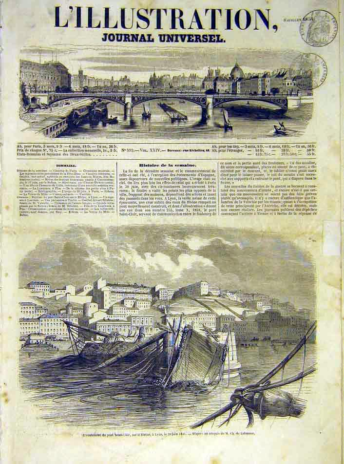 Print Saint-Clair Rhone Lyon River French 1854 18Lil1 Old Original