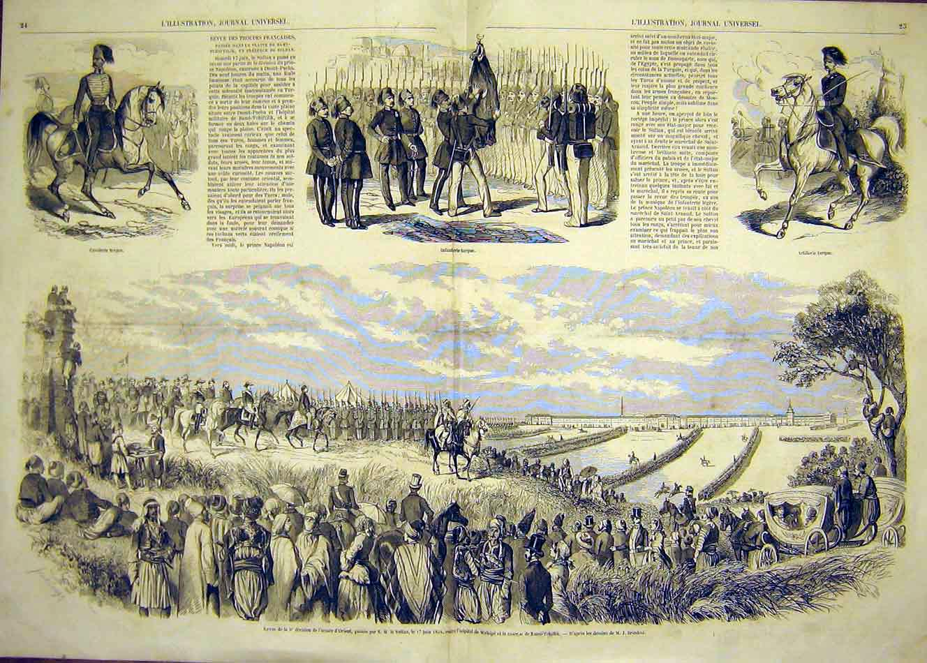 Print Cavalry Infantry Artillery Military Review Orient 1854 23Tlil1 Old Original