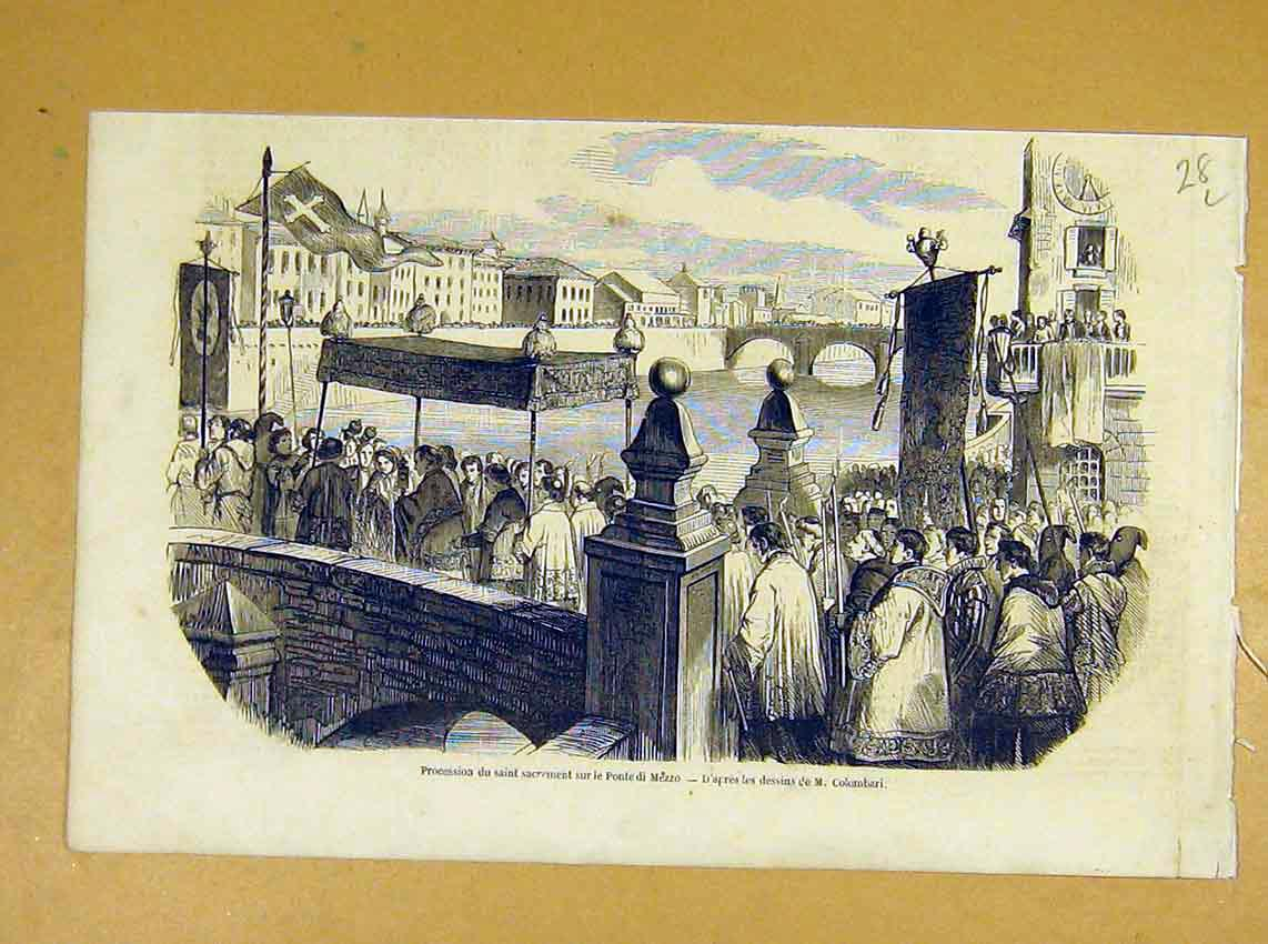 Print Mezzo Bridge Procession Sacrement Religious 1854 28Llil1 Old Original