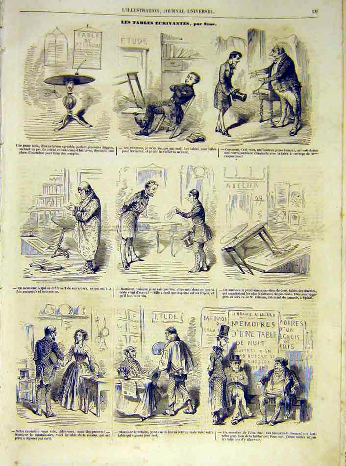 Print Sketches Writer Writing-Table French 1854 29Lil1 Old Original