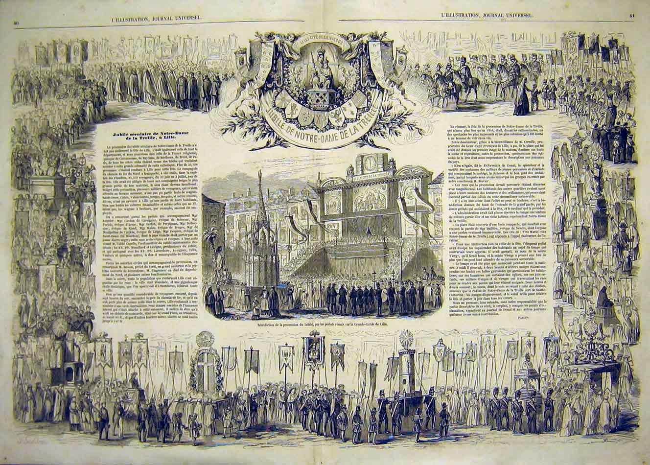 Print Notre-Dame Paris France Benediction Religious 1854 39Tlil1 Old Original