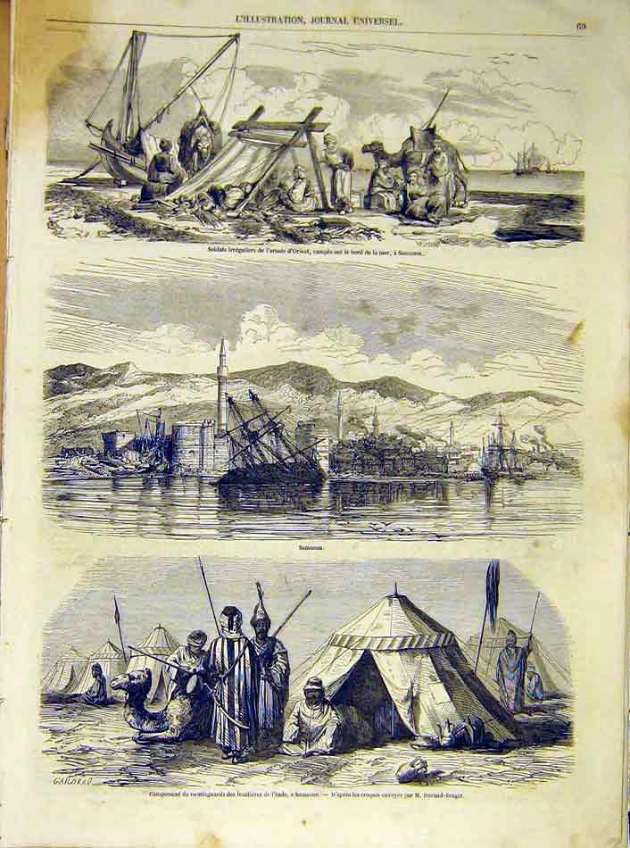 Print Soldiers Samsoun India Durand-Brager French 1854 69Lil1 Old Original