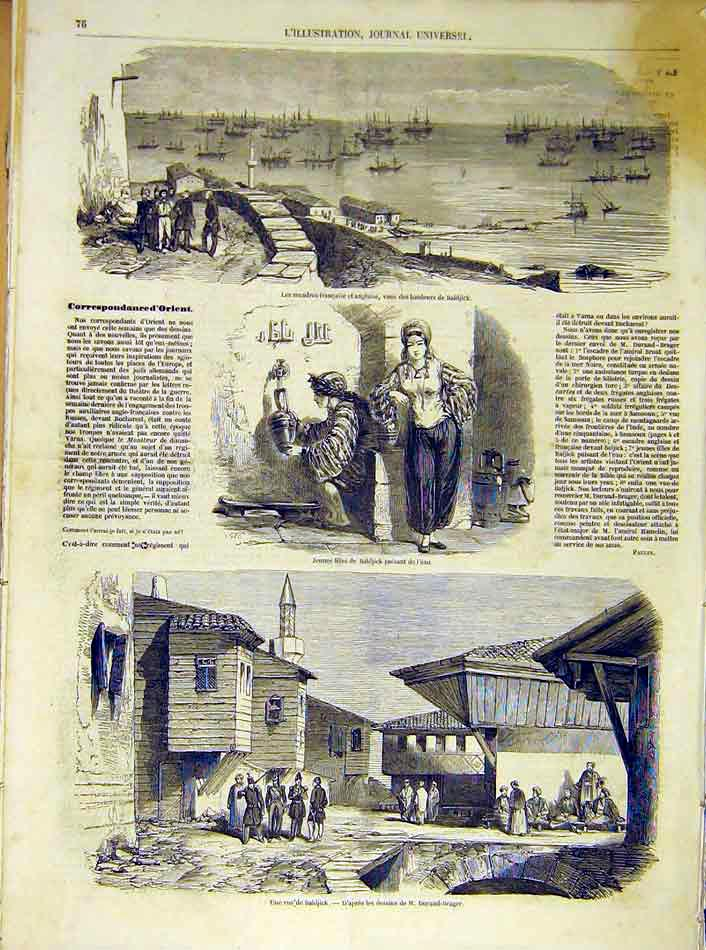 Print Baldjick Water Village Orient French 1854 76Lil1 Old Original