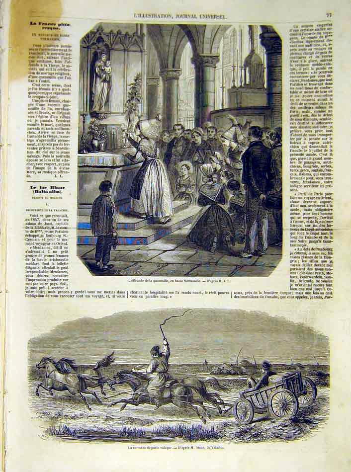 Print Offering Religious Normandy Post Mail French 1854 77Lil1 Old Original