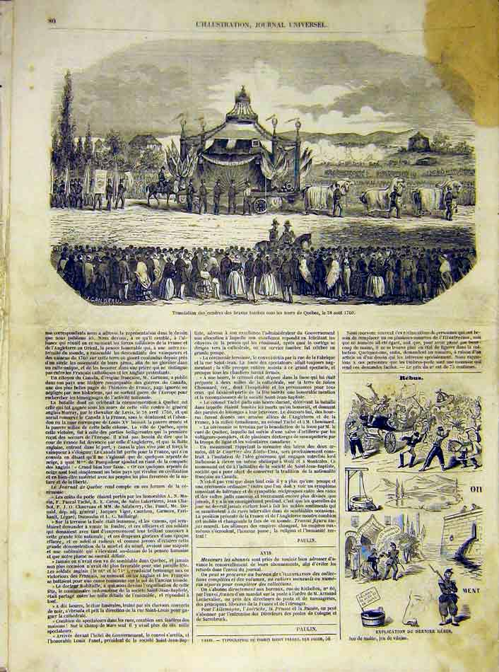 Print Quebec Canada Tomb French 1854 80Lil1 Old Original