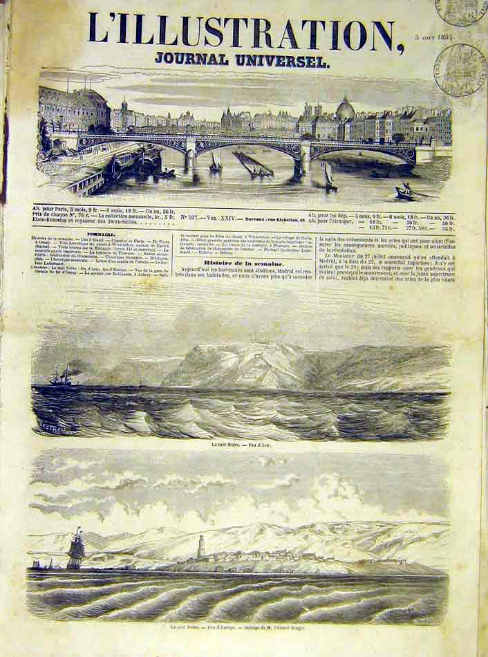 Print Black-Sea Europe Asia French 1854 82Lil1 Old Original