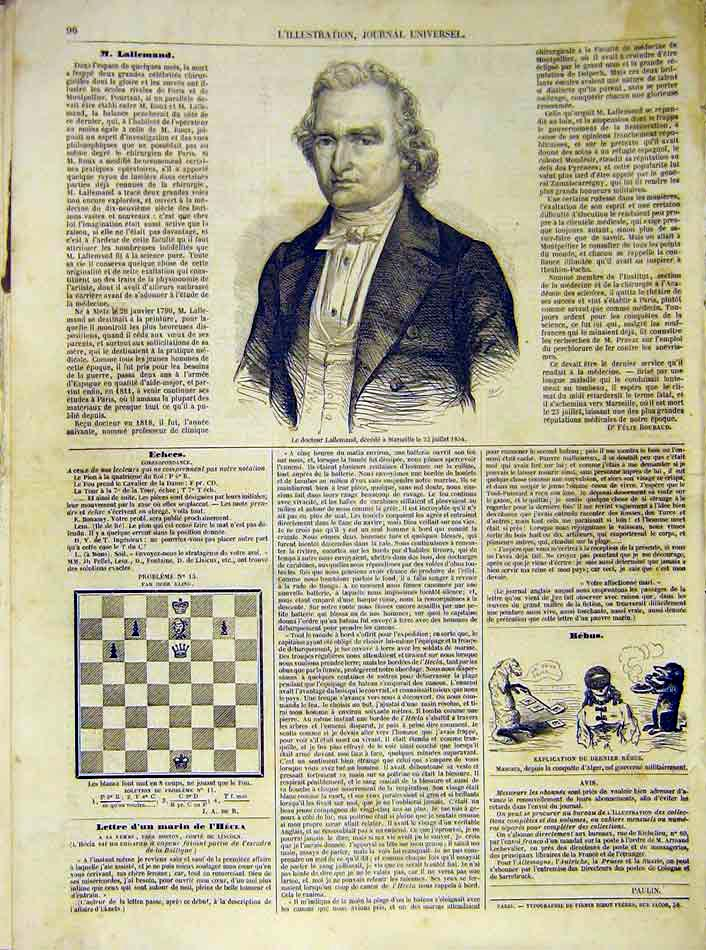 Print Portrait Docotr Lallemand Marseille French 1854 96Lil1 Old Original