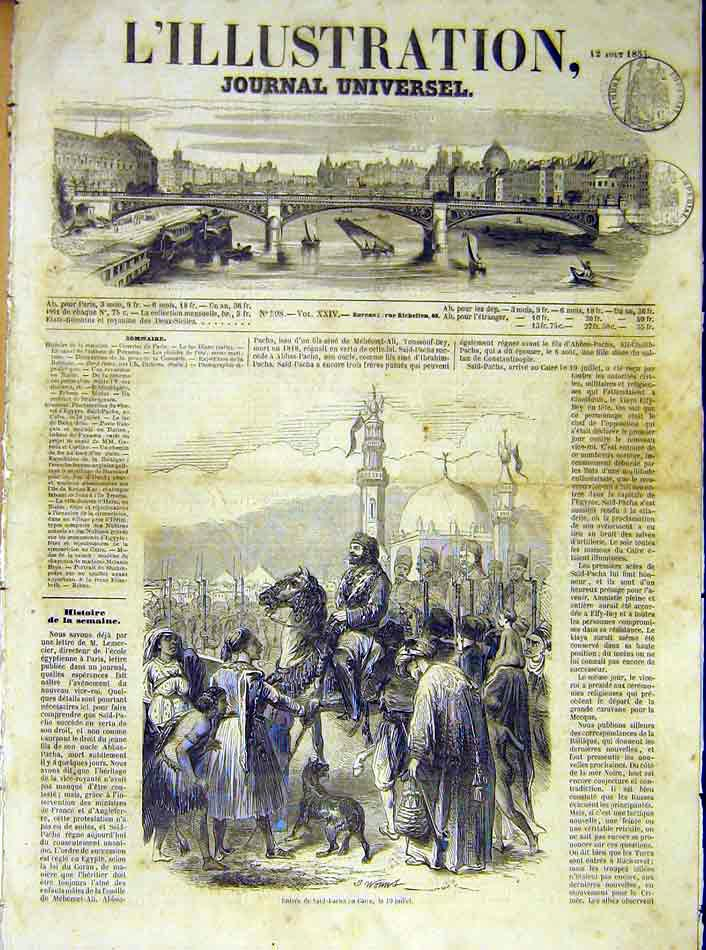 Print Said-Facha Cairo Egypt Africa French 1854 98Lil1 Old Original