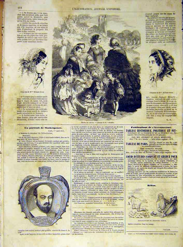 Print Fashion Ladies Hat Brun France French 1854 Shakespeare 12Lil1 Old Original