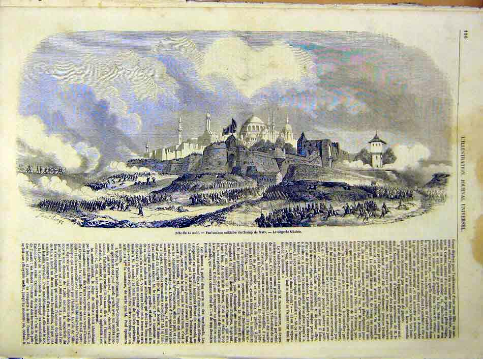 Print Fete Silistrie Siege Military French 1854 16Lil1 Old Original