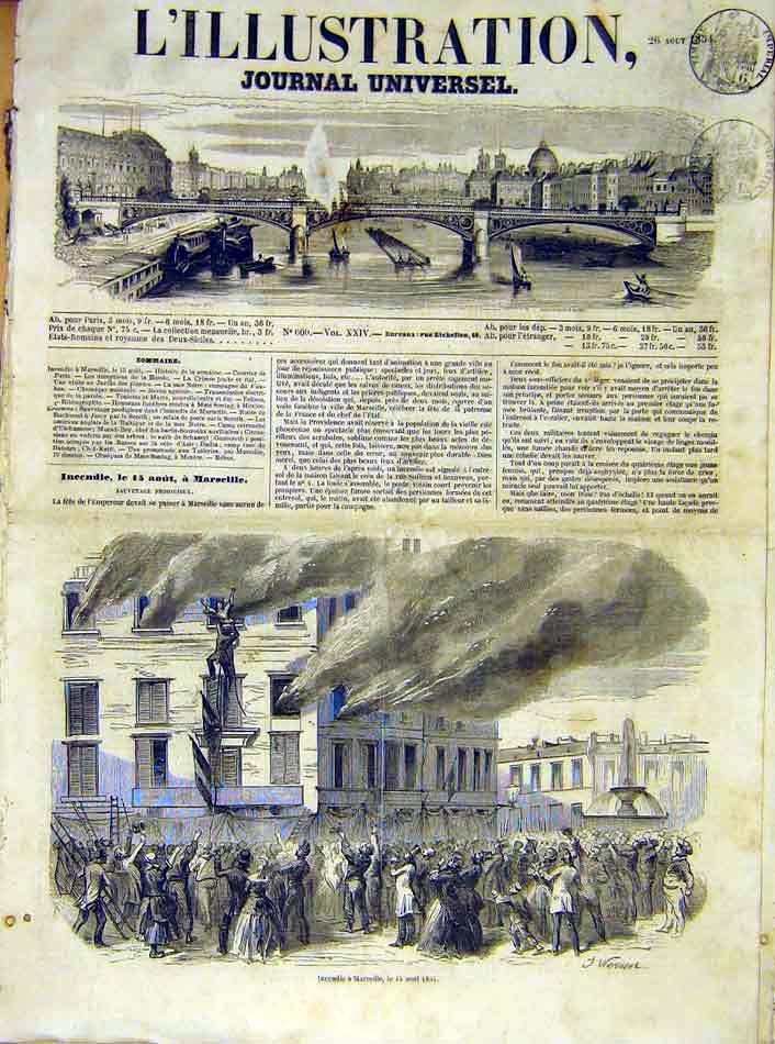 Print Fire Marseille France French 1854 30Lil1 Old Original