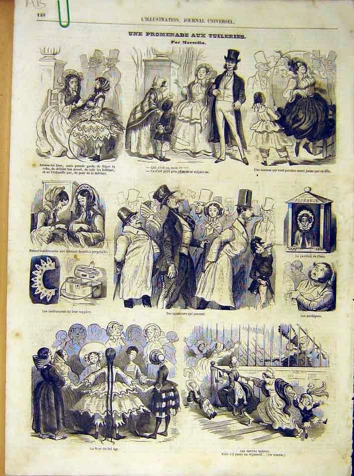 Print Tuileries Comic Sketches Marcelin French 1854 40Alil1 Old Original
