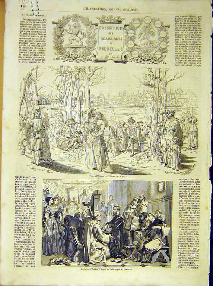 Print Exhibition Brussels Faust Wagner Malines 1854 48Alil1 Old Original
