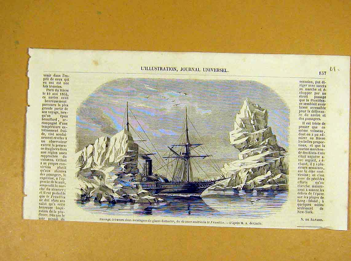 Print Icebergs Franklin American Steamer French 1854 57Ulil1 Old Original