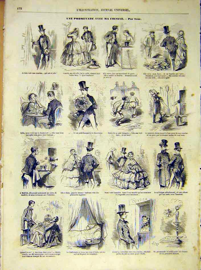 Print Cousin Promenade Walk Sketches French 1854 72Lil1 Old Original