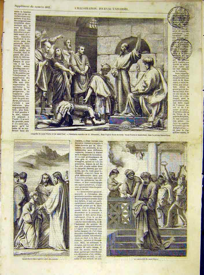 Print Chapel Saint-Peter Paul Painting Religious Severin 1854 77Lil1 Old Original