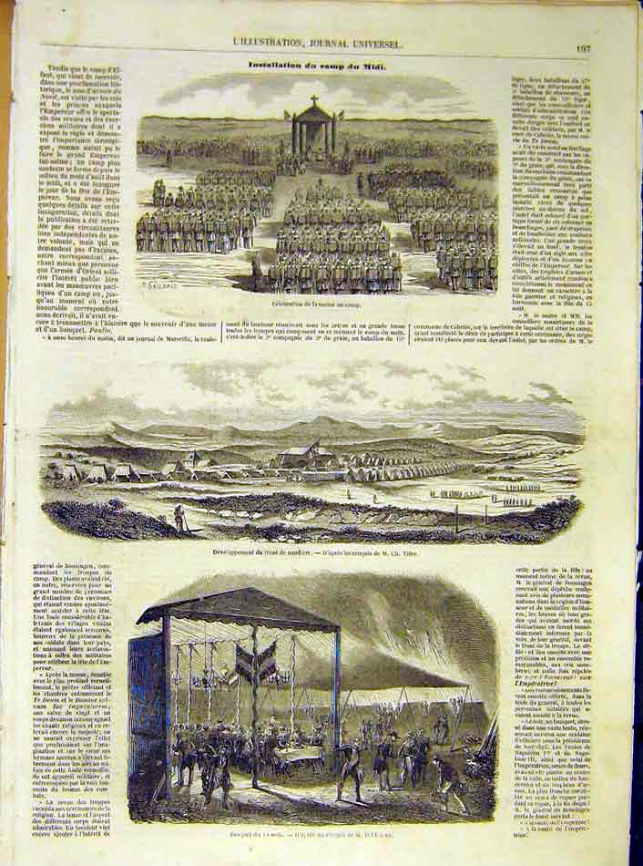 Print Midi Banquet Mass Religious Troops French 1854 97Lil1 Old Original