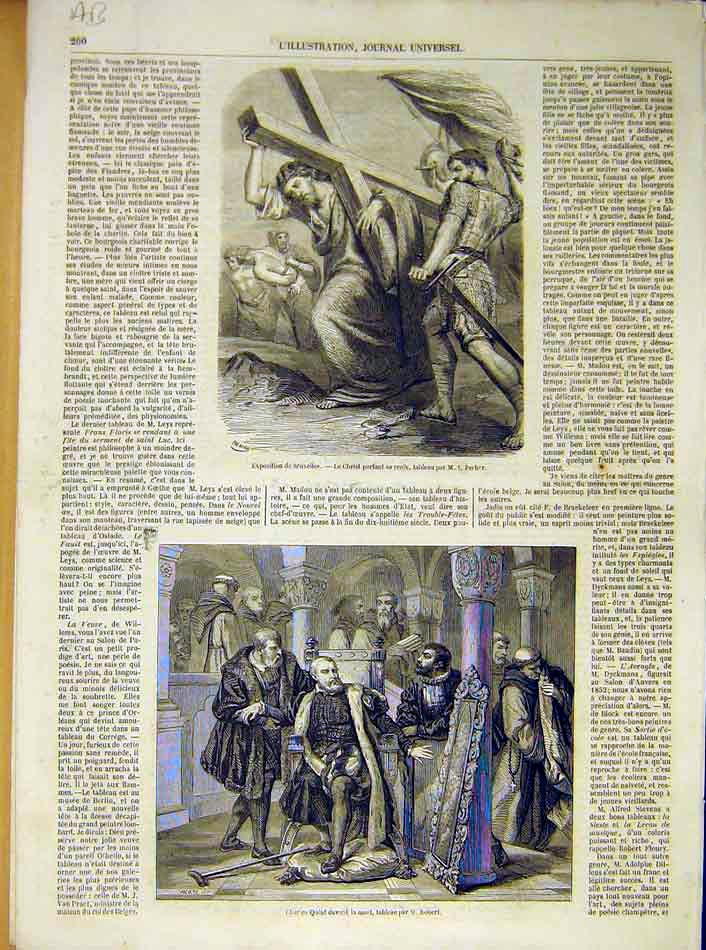 Print Christ Cross Pecher Brussels Exhibition Gallait 1854 00Alil1 Old Original