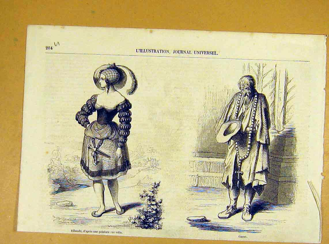 Print Ribaude Gueux Sketches French 1854 04Ulil1 Old Original
