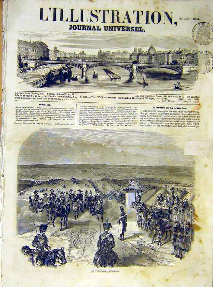 Print Boulogne Camp Review Military French 1854 10Lil1 Old Original