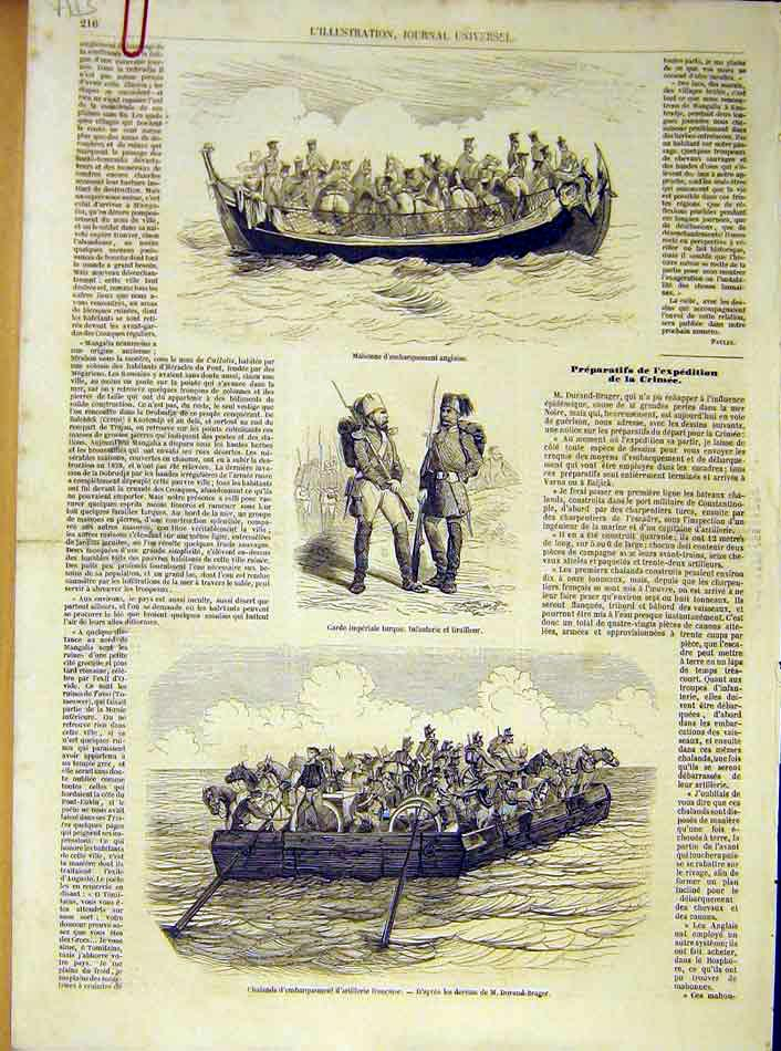 Print Mahonne Imperial Guard Ferry Artillery Turkish 1854 16Alil1 Old Original