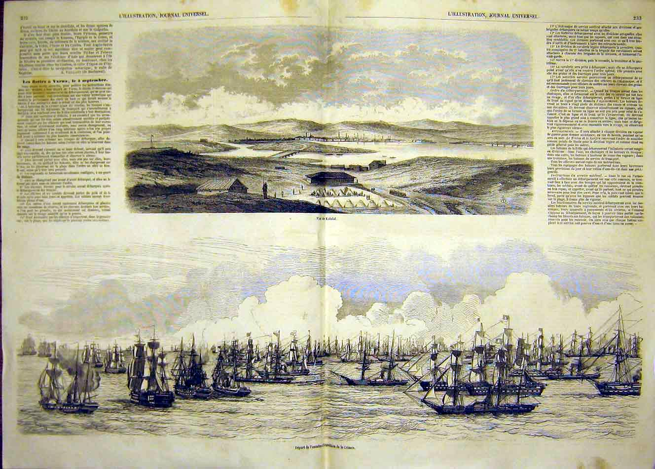 Print Kalafat Crimea War Battle Ships Squadron 1854 31Tlil1 Old Original