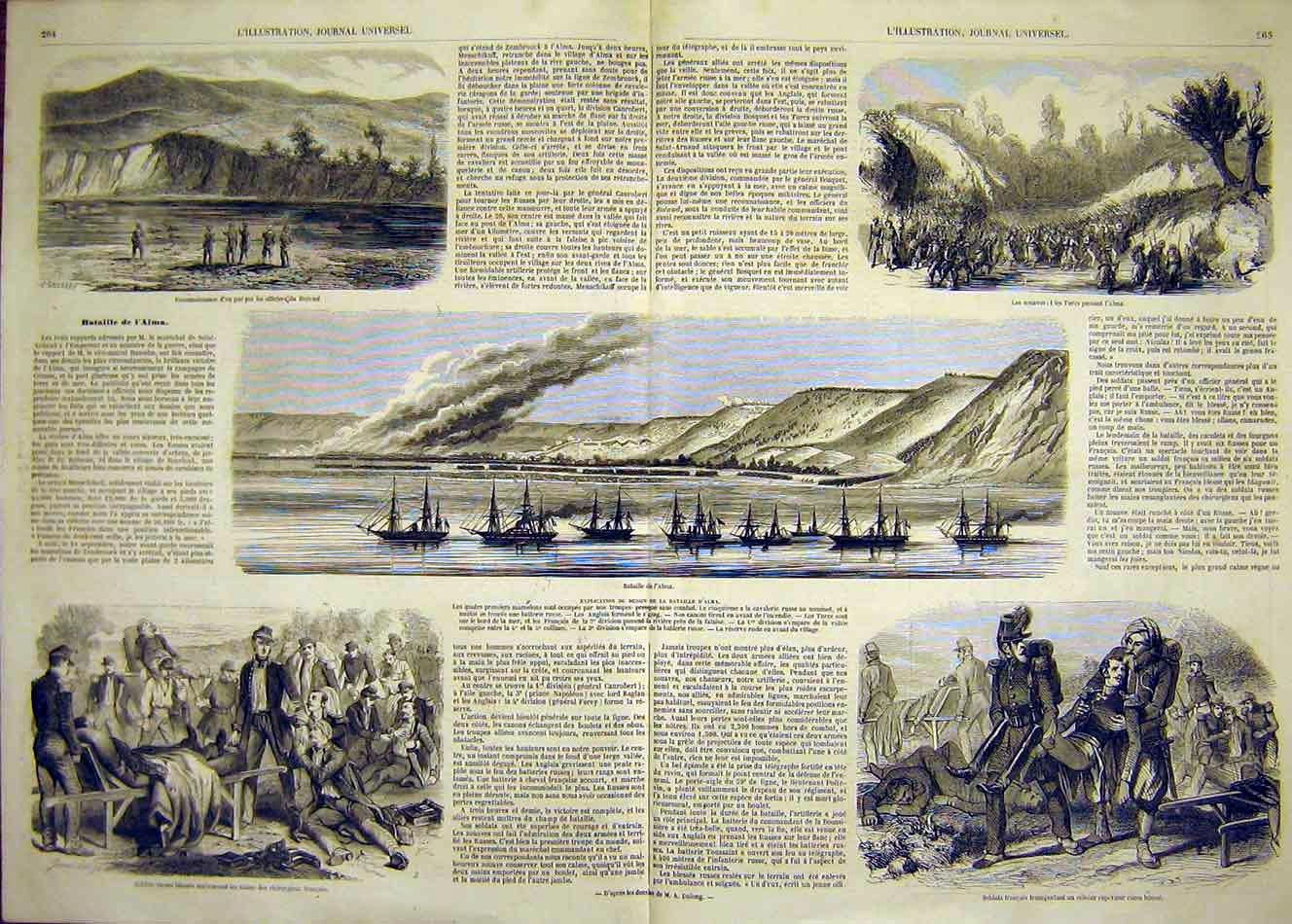 Print Alma Battle Soldiers Turks Zouaves French 1854 63Tlil1 Old Original
