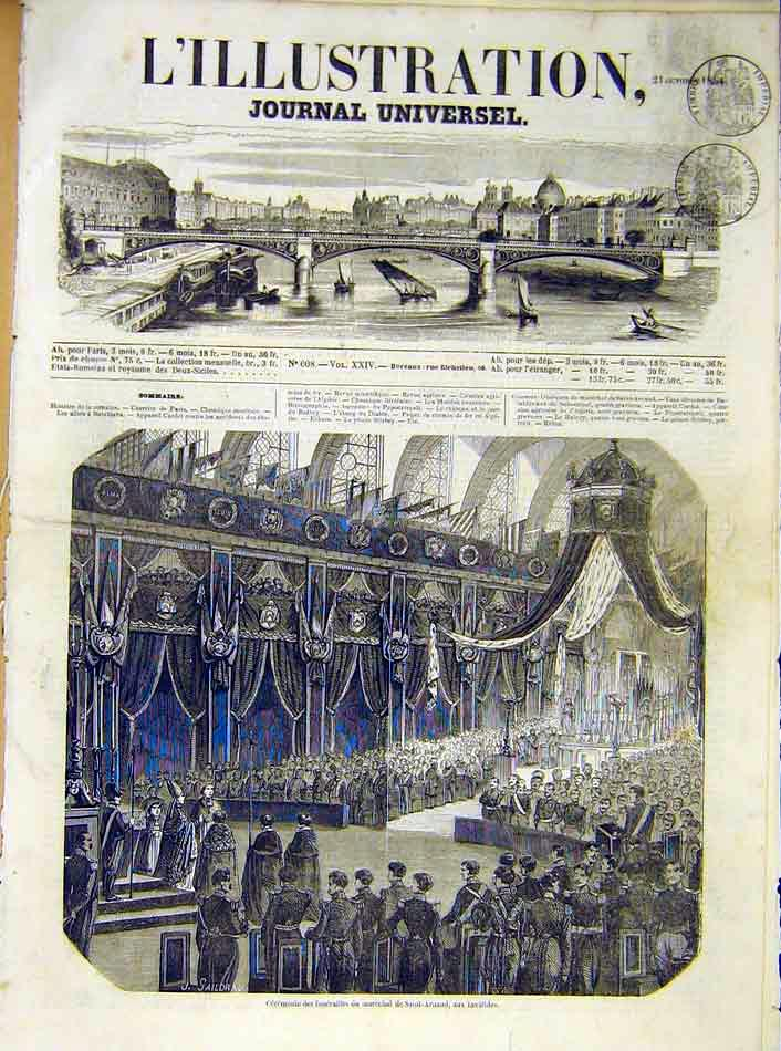 Print Ceremony Funeral Saint-Arnaud Invalids 1854 71Lil1 Old Original