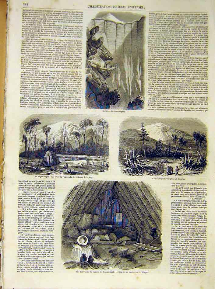Print Popocatepelt Ranch Crater Mexico French 1854 84Lil1 Old Original
