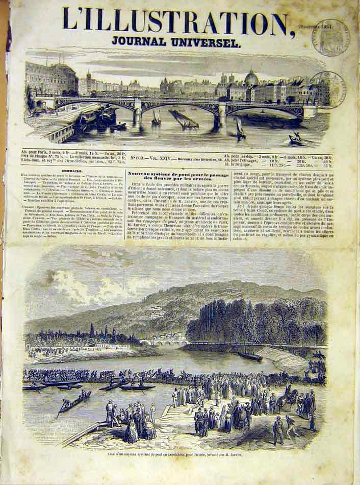 Print Army Bridge Pontoon Janvier Inventor French 1854 90Lil1 Old Original