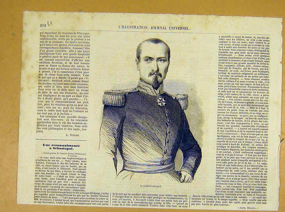 Print Portrait General Bosquet Military French 1854 92Ulil1 Old Original