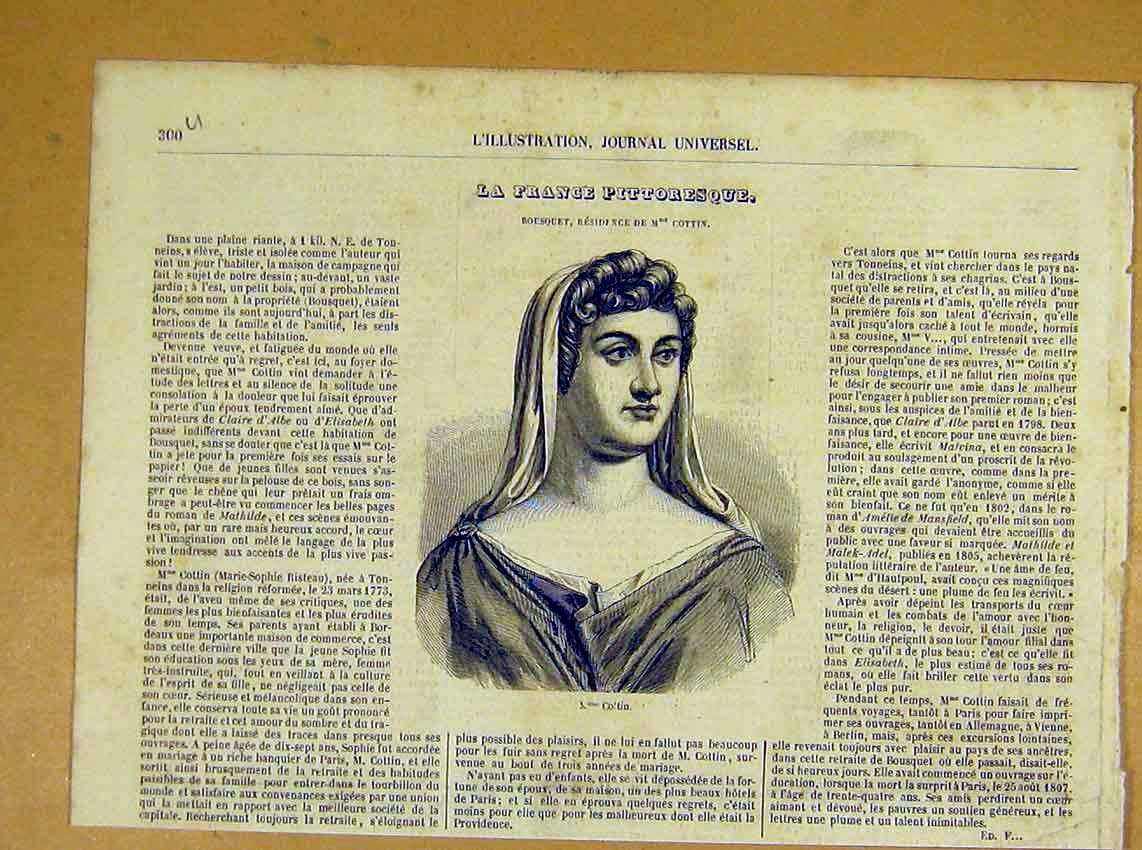 Print Portrait Cottin Madamoiselle French 1854 00Ulil1 Old Original