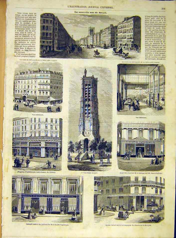 Print Rivoli Paris France Buildings French 1854 01Lil1 Old Original