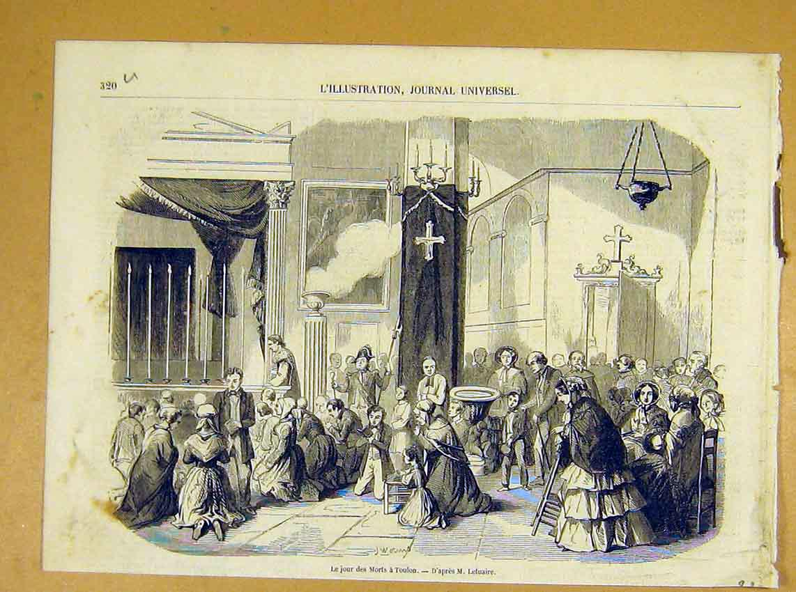 Print Death Toulons Religious Letuaire French 1854 20Ulil1 Old Original