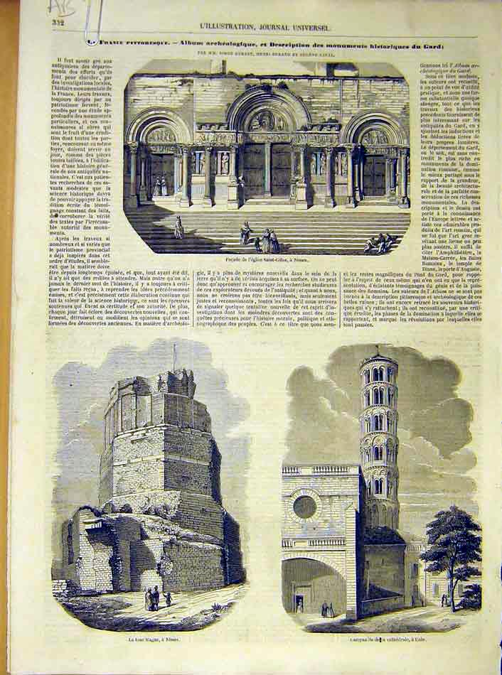 Print Church Saint-Giles Nimes Uzes Gallargue 1854 32Alil1 Old Original