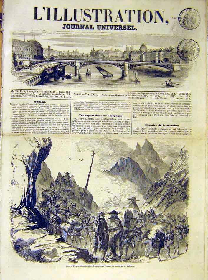 Print Convoy Wine Spain France French 1854 38Lil1 Old Original