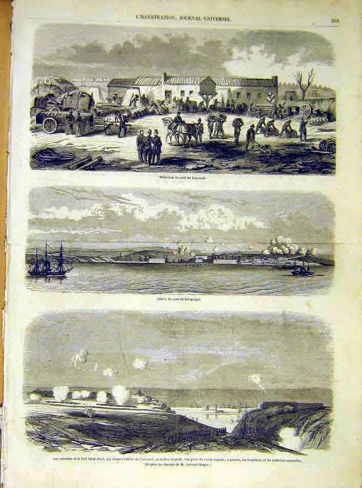 Print Kamiesh Sebastopol Arsenal Saint-Paul French 1854 65Lil1 Old Original